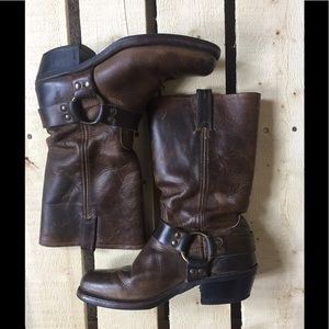 Womens Frye Mid-Calf Harness Brown Leather Boots 9